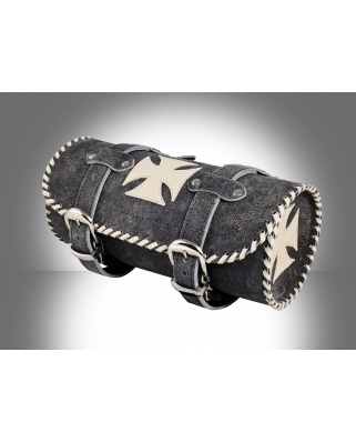 Details about  Vintage Gothic Motorcycle Biker Leather Tool Rool Bag with Creme Iron Cross