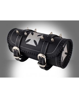 Gothic Motorcycle Biker Leather Tool Rool Black Bag with Silver Iron Cross