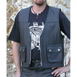 Bikers mode leather vest VP-3